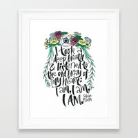 sylvia plath Framed Art Prints featuring Hand-lettered Sylvia Plath quote with flowers by to florence with love