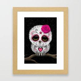 Adorable Pink Day of the Dead Sugar Skull Owl Framed Art Print