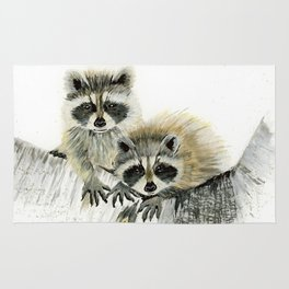 Curious Cubs - raccoons, animals, wildlife, nature Rug