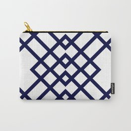 Geometric Pattern in Navy Blue Carry-All Pouch