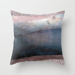Rose Gold Blush Pink & Blue Watercolor Throw Pillow