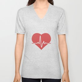 Heart with Cardiogram Unisex V-Neck