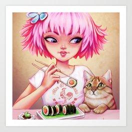 Sushi Cat Art Print