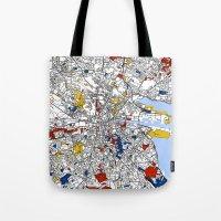 dublin Tote Bags featuring Dublin mondrian by Mondrian Maps
