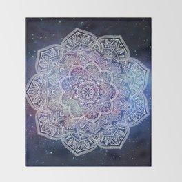 Lace Mandala - White on Galaxy Throw Blanket