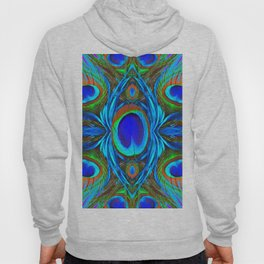 BLUE  PEACOCK EYE FEATHER ABSTRACT Hoody