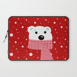 Muzzle of a polar bear on a red background. Laptop Sleeve