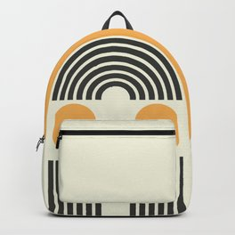 Geometric Lines in Gold and Black 5 (Rainbow and Sunrise Abstract) Backpack