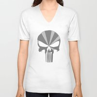 punisher V-neck T-shirts featuring The Punisher by Andrian Kembara