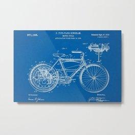 1910 F. Fitz-Tarr Bingham Motorcycle Patent Blueprint Metal Print