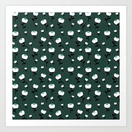 Paper cut cotton boll flowers fall bloom green teal Art Print