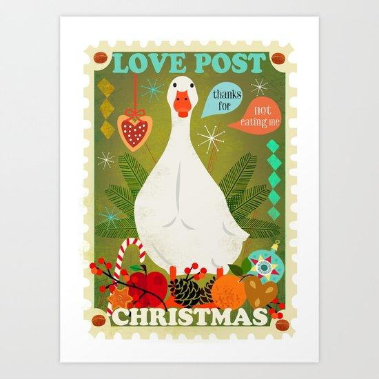 Love Post Goose Art Print