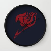 fairy tail Wall Clocks featuring Fairy Tail Segmented Logo Natsu by JoshBeck