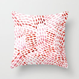 Watercolor dotted lines - red Throw Pillow