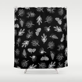 Evergreen drawing (pine cones in black) Shower Curtain