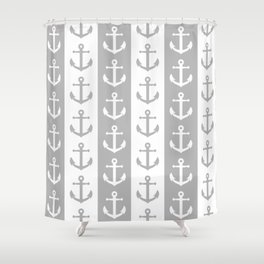 Nautical Sailor Stripes with Anchor Pattern Gray 241 Shower Curtain