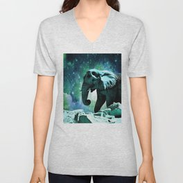 Galaxy Elephant of the Planet Pachyderm Unisex V-Neck