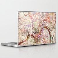 cincinnati Laptop & iPad Skins featuring Cincinnati by MapMapMaps.Watercolors