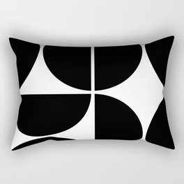 Mid Century Modern Black Square Rectangular Pillow
