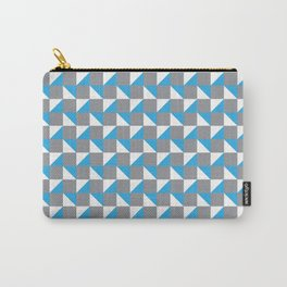 Grey Blue and White Geometric Pattern Carry-All Pouch