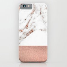 Rose gold marble and foil iPhone 6s Slim Case