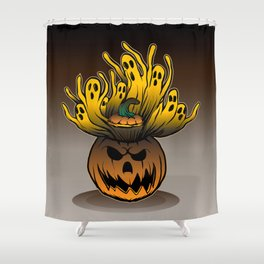 Classic character of ghost and pumpkin Shower Curtain