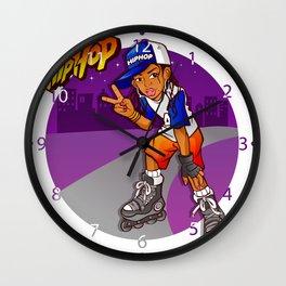 Hip Hop Teenage Skater Cartoon Wall Clock