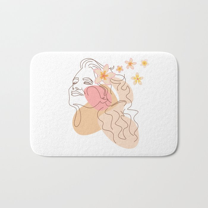 Minimal Line Art Summer Woman with Tropical Flowers I Bath Mat