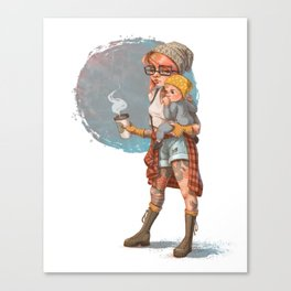 Hipster Mom Canvas Print