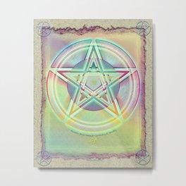 Rainbow Ghosted Pentacle Metal Print