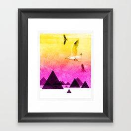 seagulls in shiny sky Framed Art Print