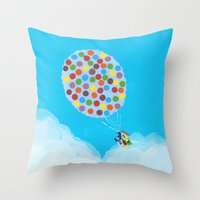 pixar Throw Pillows featuring Up - Disney/Pixar by Justine Shih