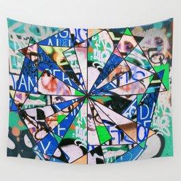 Green Graffiti Abstract Mosaic Wall Tapestry