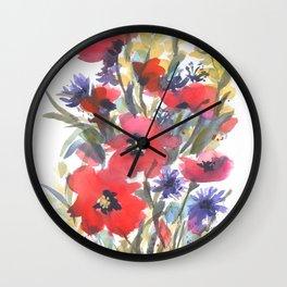 Big Poppy Field Wall Clock
