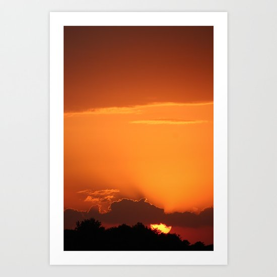 Summer Sunset in Bright Colours Art Print