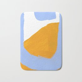 Minimalist Abstract Colorful Shapes Yellow Pastel Blue Mid Century Art Bath Mat