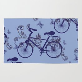 Bicycle and Floral Ornament Rug