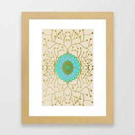Turquoise and Gold Sunflower Framed Art Print