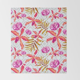 Bold & Bright Colored Tropical Flowers on Silver Trellis Throw Blanket