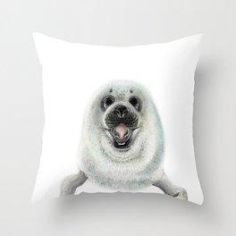 Adorable Seal Pup Throw Pillow
