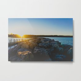 sunset over a rock jetty on lake michigan Metal Print