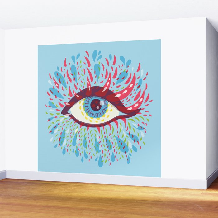 Weird Blue Psychedelic Eye Wall Mural