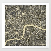 london map Art Prints featuring London map by Map Map Maps