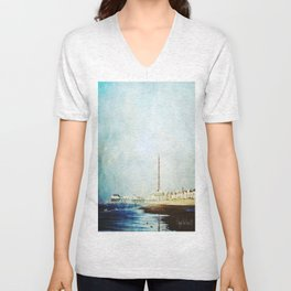 On The Front Textured Fine Art Photograpy Unisex V-Neck