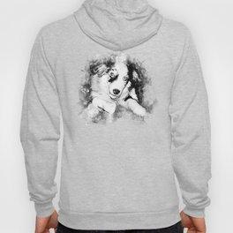 australian shepherd aussie dog puppy splatter watercolor black white Hoody