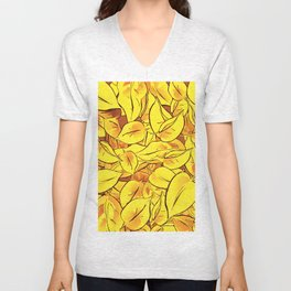 Yellow Leaves - Ver 1 (you can create set with Yellow Leaves Ver 2) Unisex V-Neck