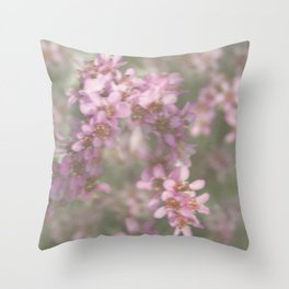 Abstract Pink and Green Flowers Throw Pillow