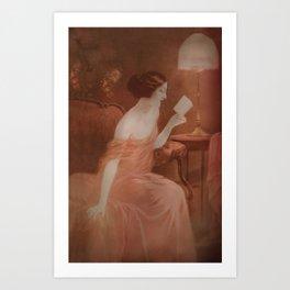 Women in red dress reading a letter Art Print