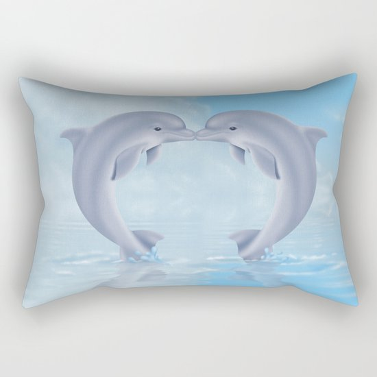 Kissing dolphins Rectangular Pillow