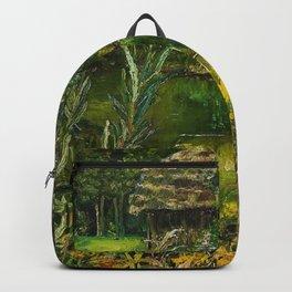 Birch Trees on the Lake landscape painting by Emilie Mediz-Pelikan Backpack